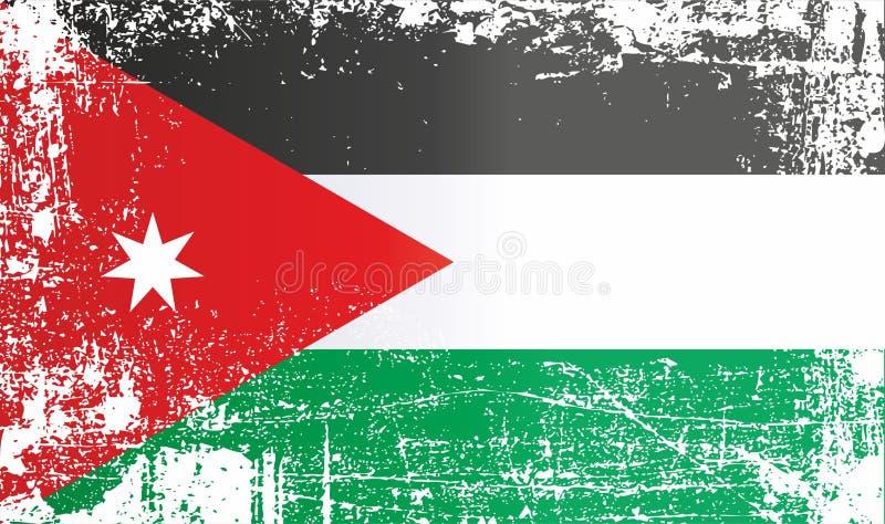 Flagga av Jordanien, Hashemitiska konungariket Jordanien, rynkiga smutsiga fläckar stock illustrationer