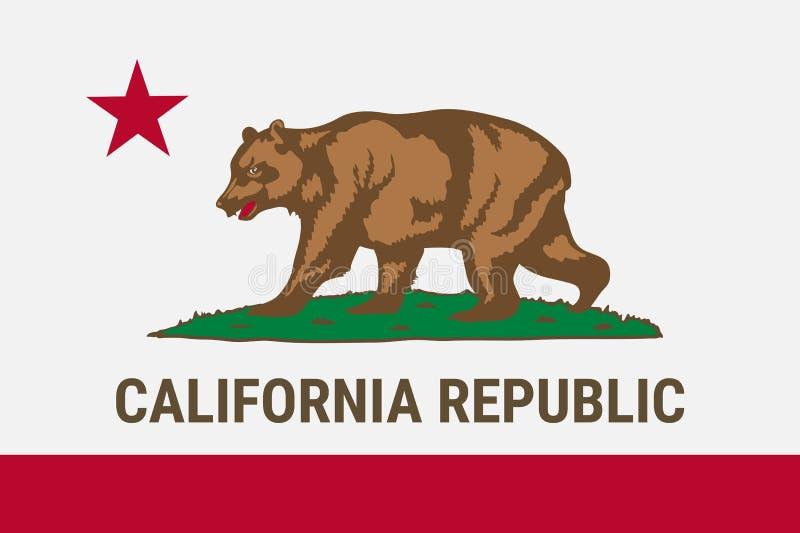 Flagga av Kalifornien den amerikanska staten royaltyfri illustrationer