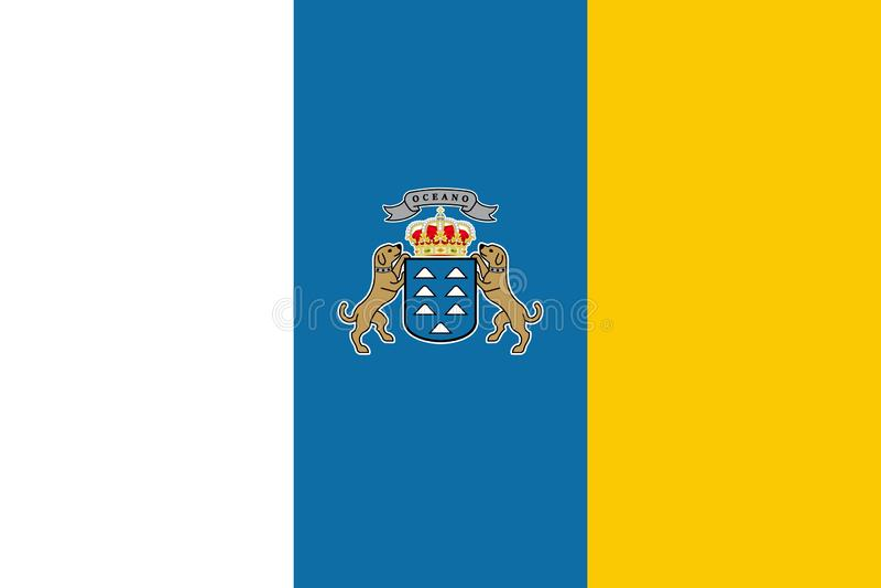Flagga av kanariefågelöarna också vektor för coreldrawillustration Världsflagga vektor illustrationer