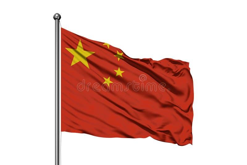 Flagga av Kina som vinkar i vinden, isolerad vit bakgrund kinesisk flagga royaltyfri illustrationer
