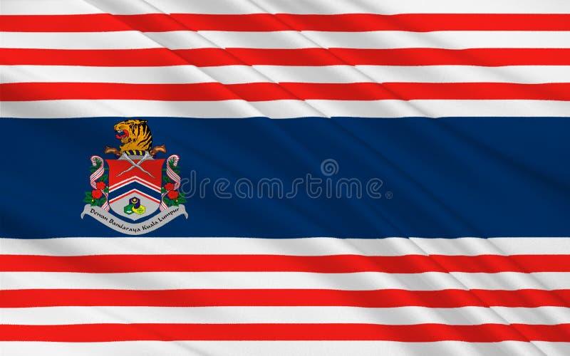 Flagga av Kuala Lumpur, Malaysia royaltyfri illustrationer