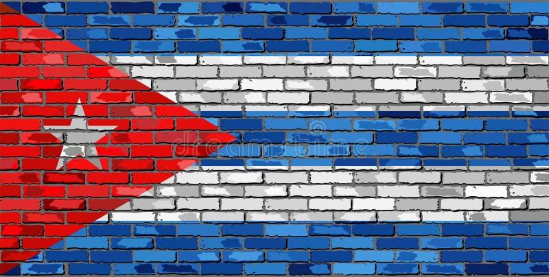 Flagga av Kuban på en tegelstenvägg royaltyfri illustrationer