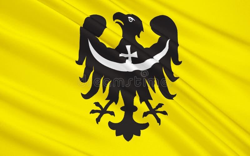 Flagga av lägre Silesian Voivodeship eller lägre Silesia landskap in arkivbild
