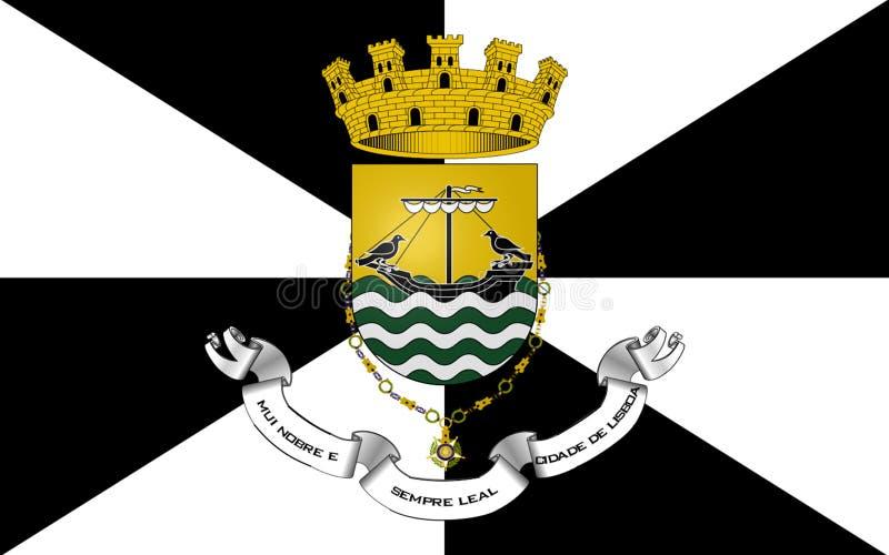 Flagga av Lissabon, Portugal vektor illustrationer