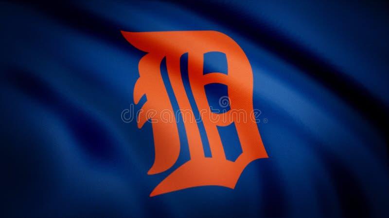 Flagga av logoen för basketlag för baseballDetroit Tigers den amerikanska yrkesmässiga, sömlös ögla Redaktörs- animering vektor illustrationer