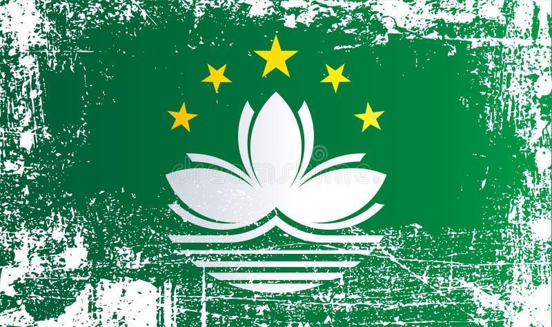 Flagga av Macao, Macao special administrativ region av Folkrepublikenet Kina Rynkiga smutsiga fläckar royaltyfri illustrationer