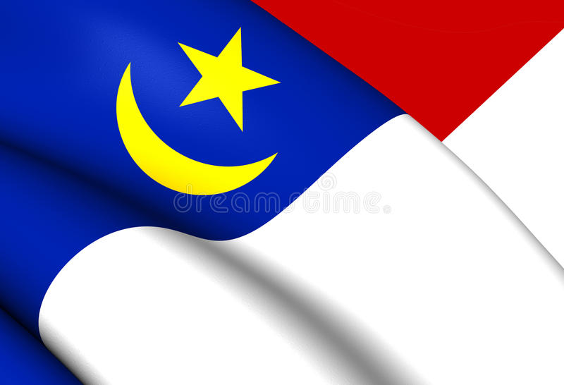 Flagga av Malacca, Malaysia vektor illustrationer