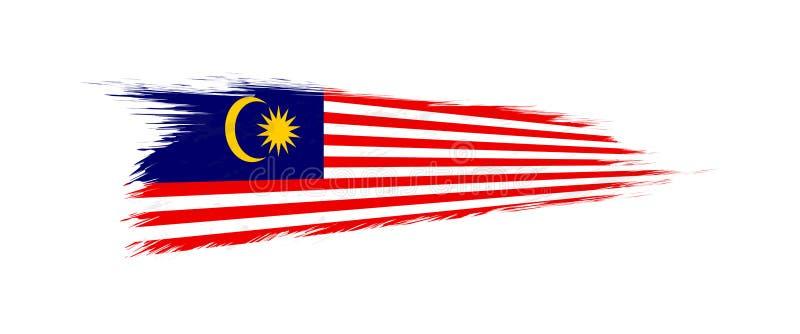 Flagga av Malaysia i grungeborsteslaglängd stock illustrationer