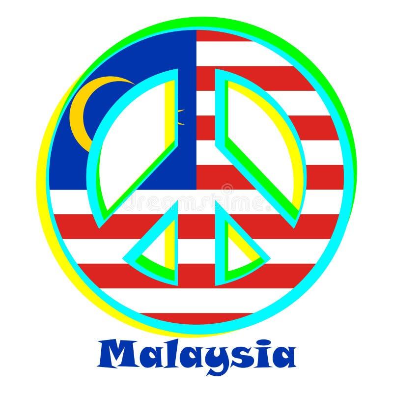 Flagga av Malaysia som ett tecken av pacifism royaltyfri illustrationer