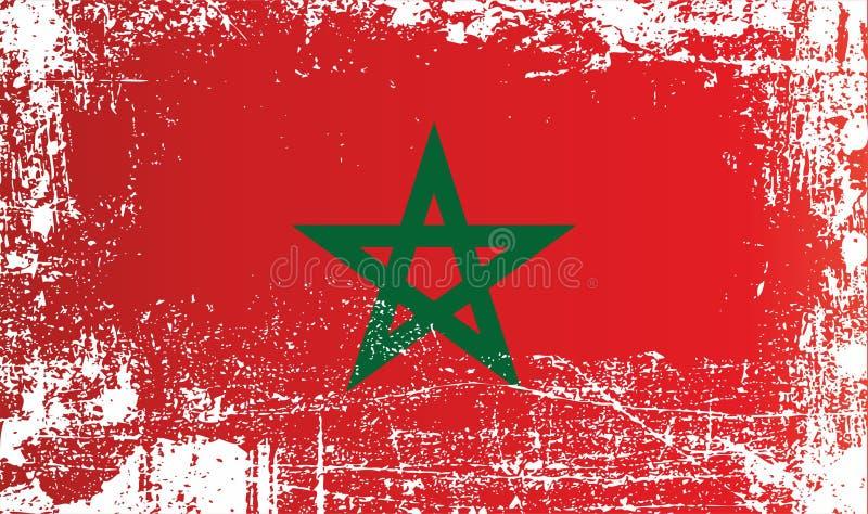 Flagga av Marocko, kungarike av Marocko Rynkiga smutsiga fläckar royaltyfri bild