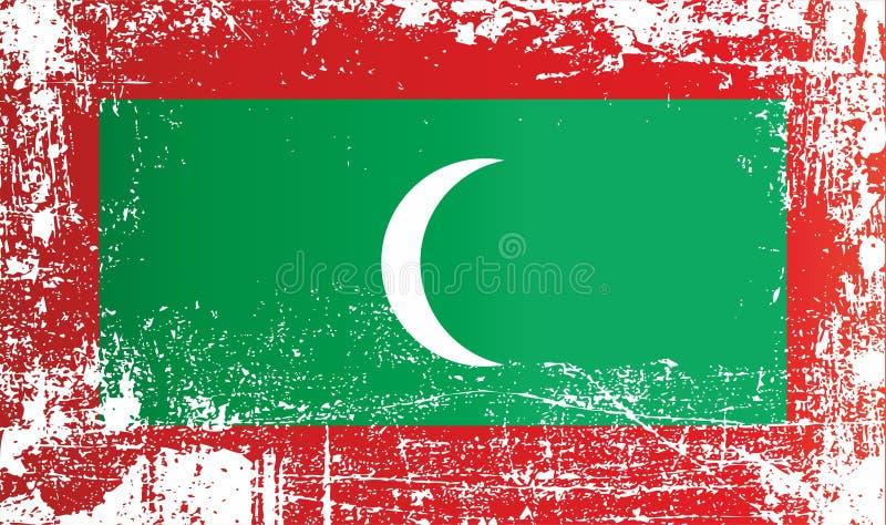 Flagga av Mauritius, utländsk region av Frankrike Rynkiga smutsiga fläckar flag maledivs Rynkiga smutsiga fläckar arkivfoton