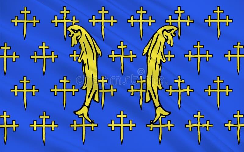 Flagga av Meuse, Frankrike stock illustrationer