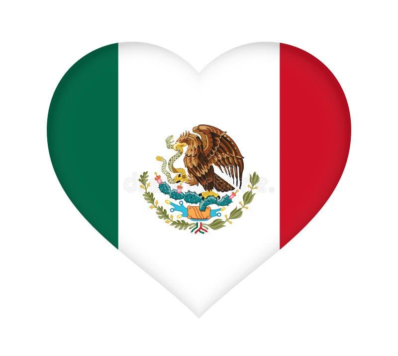 Flagga av Mexico hjärta vektor illustrationer