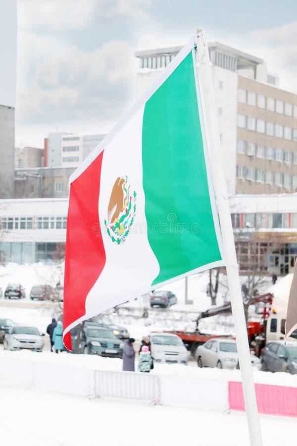 Flagga av Mexico på vind på den molniga dagen för vinter royaltyfri bild