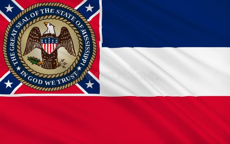 Flagga av Mississippi, USA royaltyfri illustrationer