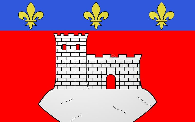 Flagga av Montbrison, Frankrike fotografering för bildbyråer