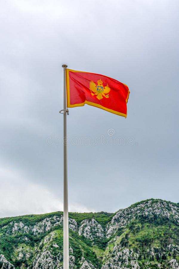 Flagga av Montenegro som tas i Kotor arkivbild