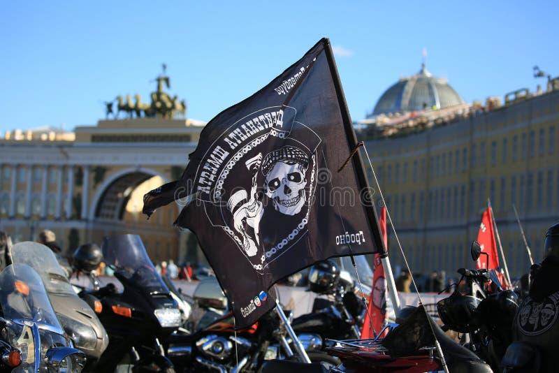Flagga av motorklubbabarnen av löjtnanten Schmidt från staden av Grodno, Vitryssland royaltyfria bilder