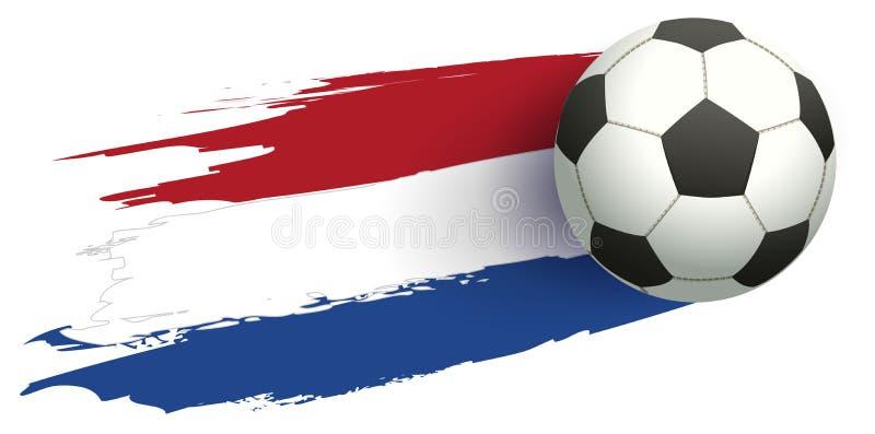 Flagga av Nederländerna och fotbollbollen royaltyfri illustrationer