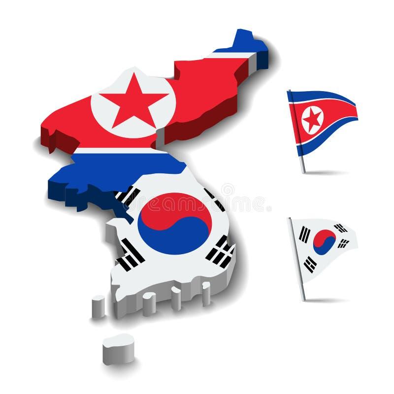 Flagga av Nordkorea och Sydkorea, kamratskapförhållande för översikt 3D stock illustrationer