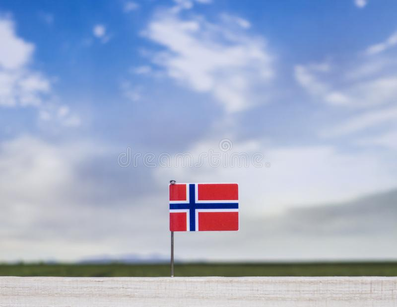 Flagga av Norge med den vidsträckta ängen och blå himmel bak den arkivbild