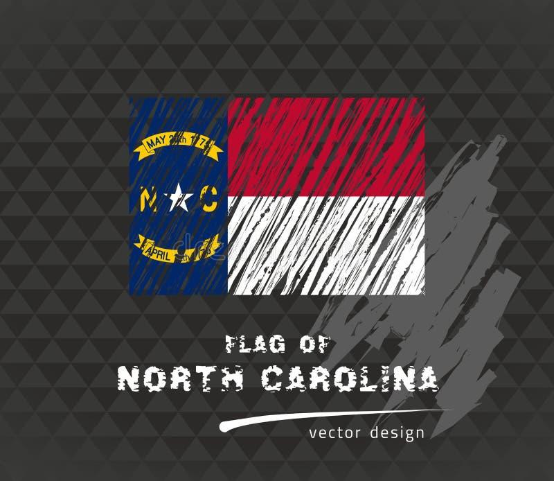 Flagga av North Carolina, vektorpennillustration på svart bakgrund stock illustrationer