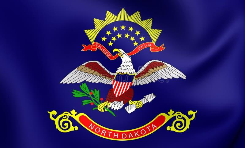 Flagga av North Dakota, USA stock illustrationer