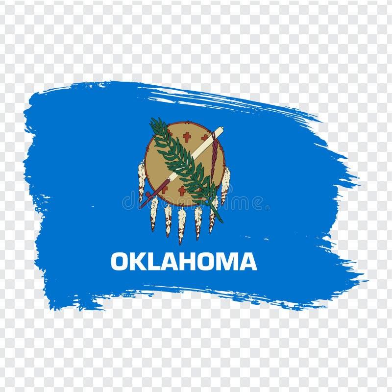 Flagga av Oklahoma från borsteslaglängder Amerika tillst?nd f?renade Flagga Oklahoma på genomskinlig bakgrund för din webbplatsde vektor illustrationer