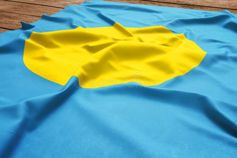 Flagga av Palau p? en tr?skrivbordbakgrund B?sta sikt f?r siden- Palauan flagga royaltyfria foton