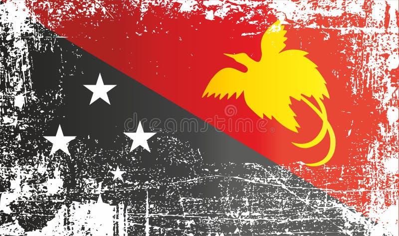 Flagga av Papua Nya Guinea, oberoende stat av Papua Nya Guinea Rynkiga smutsiga fläckar royaltyfri illustrationer