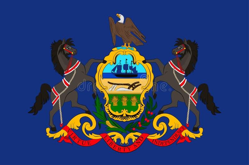 Flagga av Pennsylvania, USA royaltyfri illustrationer