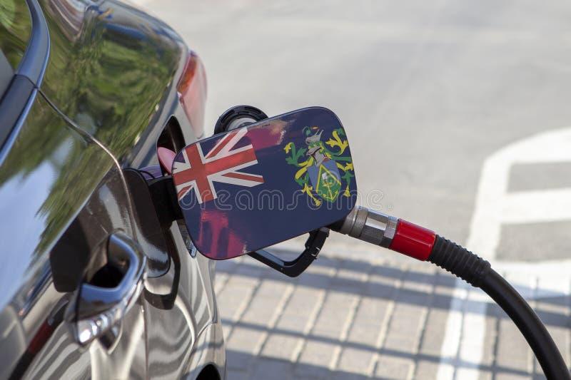 Flagga av Pitcairn öar på klaffen för utfyllnadsgods för bränsle för bil` s royaltyfri fotografi
