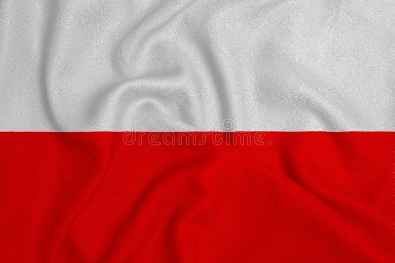 Flagga av Polen från det fabrik stack tyget Bakgrunder och texturer arkivbilder