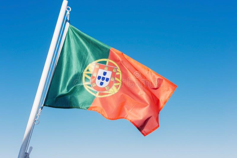 Flagga av Portugal i vinden royaltyfria foton