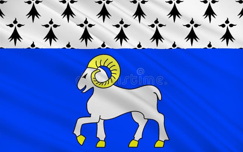 Flagga av Quimper, Frankrike royaltyfri fotografi