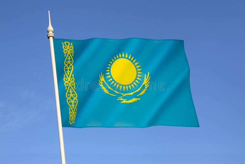 Flagga av Republikenet Kazakstan fotografering för bildbyråer