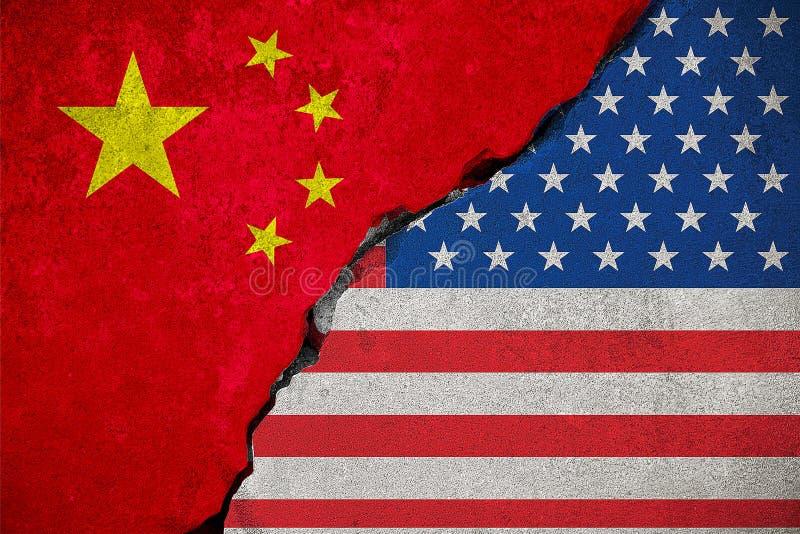 Flagga av Republikenet Kina på den brutna tegelstenväggen och halva USA stock illustrationer