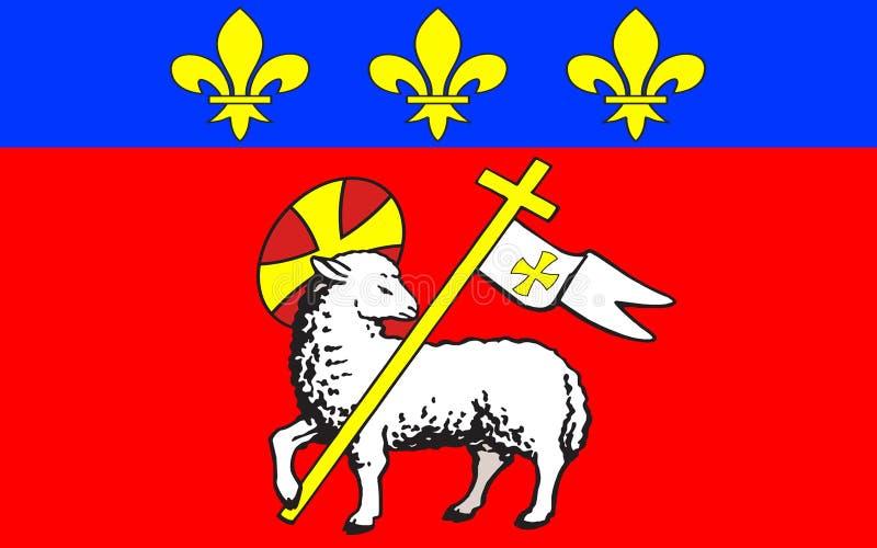 Flagga av Rouen, Frankrike fotografering för bildbyråer