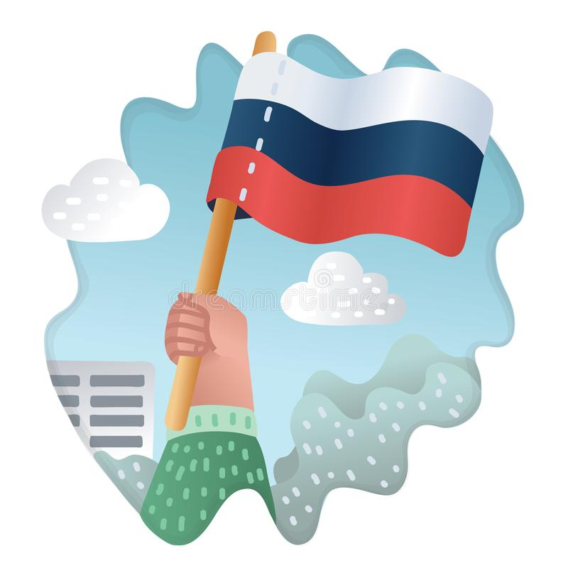 Flagga av Ryssland med den mänskliga handen stock illustrationer