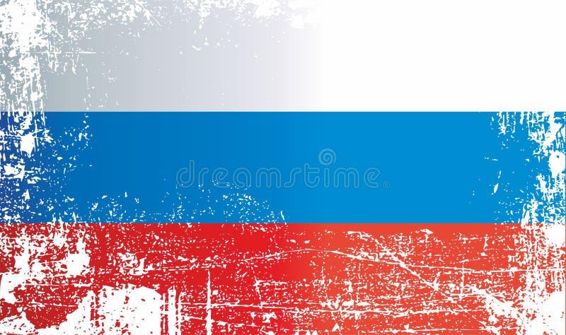 Flagga av Ryssland, rysk federation, rynkiga smutsiga fläckar stock illustrationer