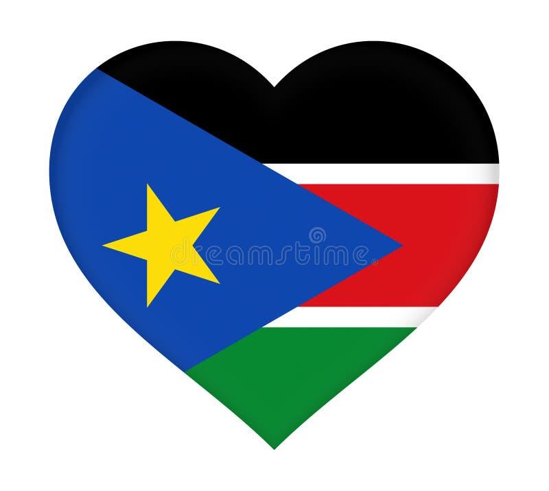Flagga av södra Sudan hjärta royaltyfri illustrationer