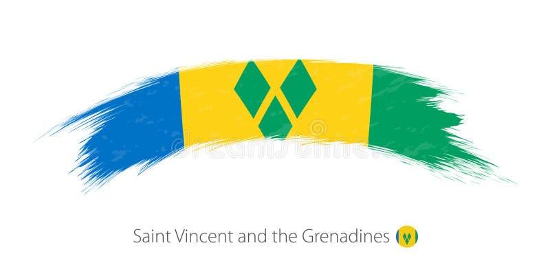 Flagga av Saint Vincent och Grenadinerna i rundad grungeborste stock illustrationer