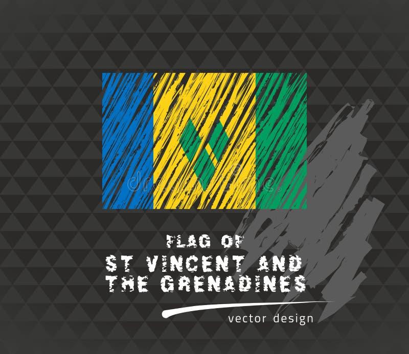 Flagga av Saint Vincent och Grenadinerna, vektorpennillustration på svart bakgrund stock illustrationer