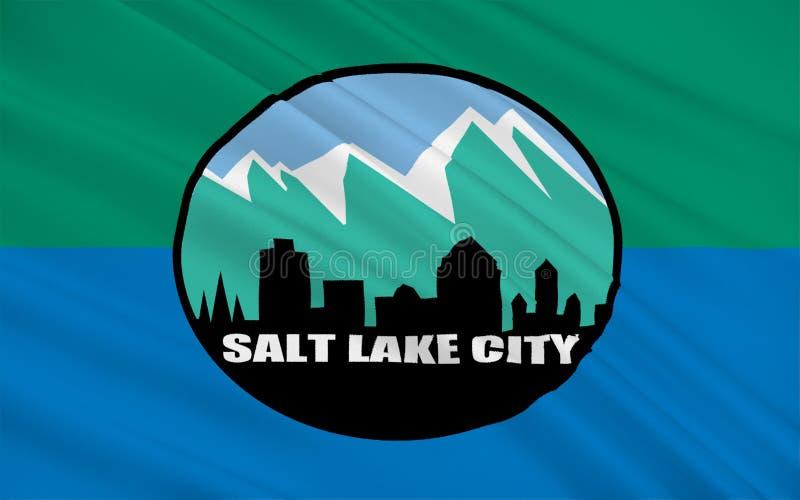Flagga av Salt Lake City i Utah, USA vektor illustrationer