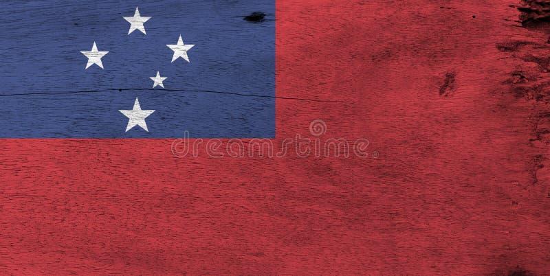 Flagga av Samoa på träplattabakgrund Textur för GrungeSamoa flagga royaltyfria bilder