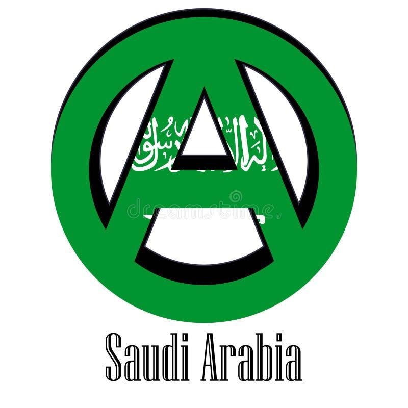 Flagga av Saudiarabien av världen i form av ett tecken av anarki royaltyfri illustrationer