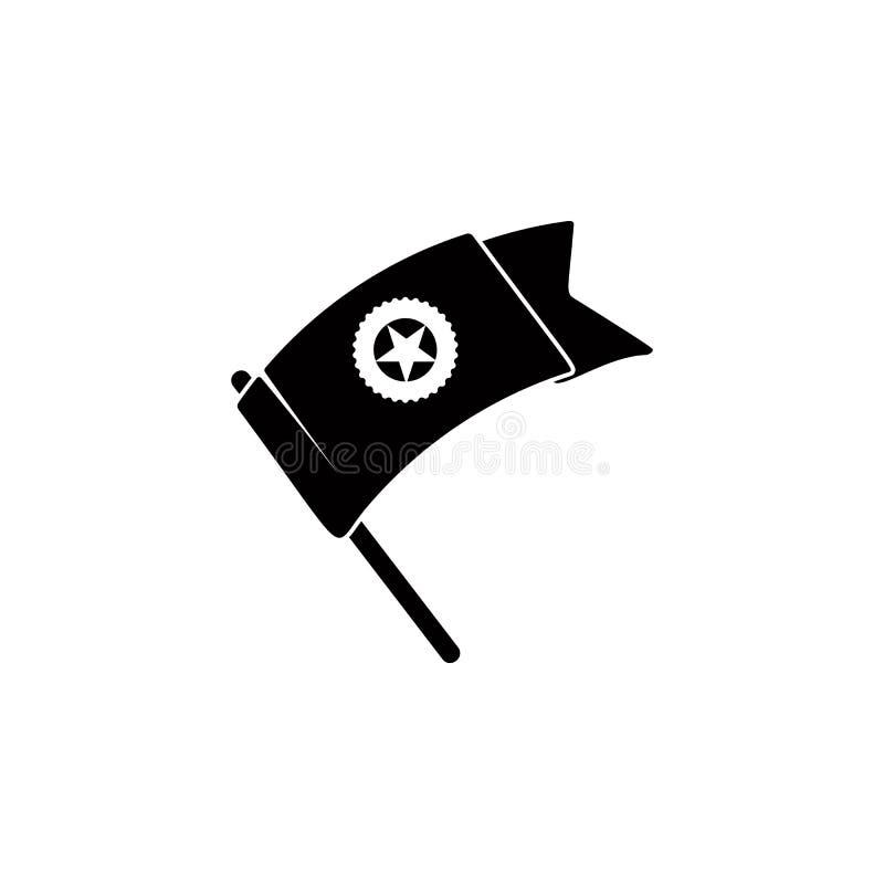 flagga av segern med en stjärnasymbol Beståndsdel av medaljen och utmärkelser för mobila begrepps- och rengöringsdukapps Tunn lin stock illustrationer