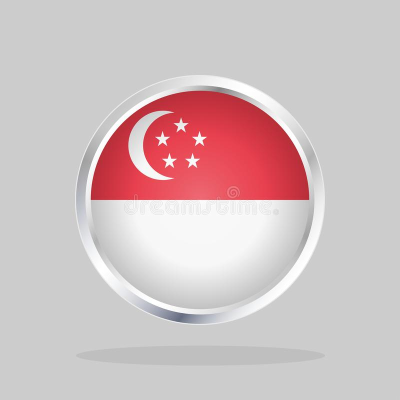 Flagga av Singapore, glansig rund knapp royaltyfri illustrationer