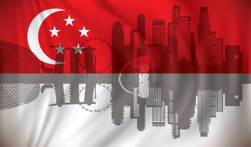 Flagga av Singapore med horisont stock illustrationer