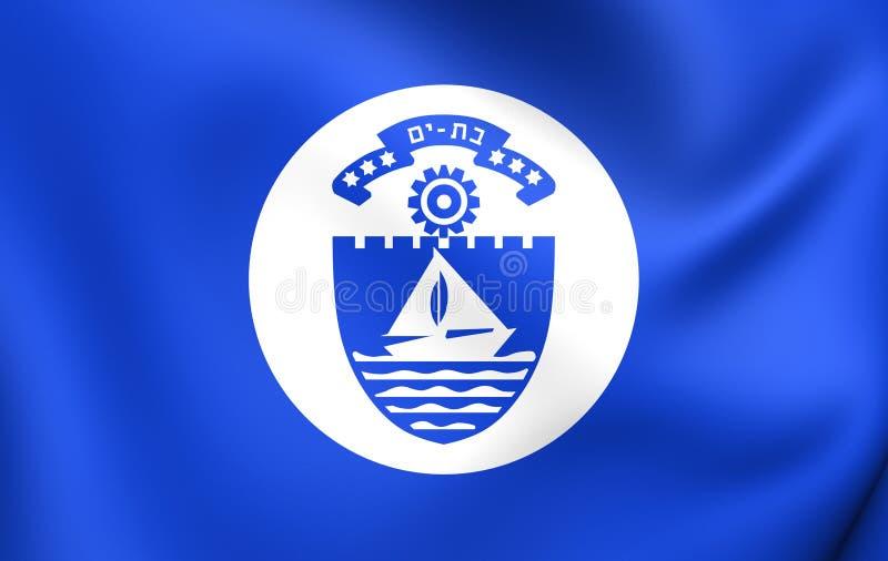 Flagga av slagträet Yam City, Israel vektor illustrationer